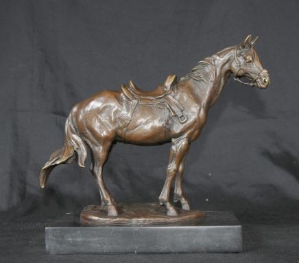 French Bronze Horse Pony Statue Signed Milo