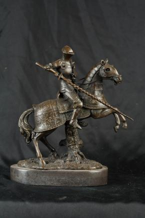 French Bronze Knight Horseback Jousting Statue Medieval Horse