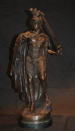 French Bronze Roman Gladiator Signed A Carrier