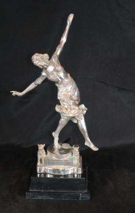 French Silver Bronze Art Deco Dog Dancer Figurine