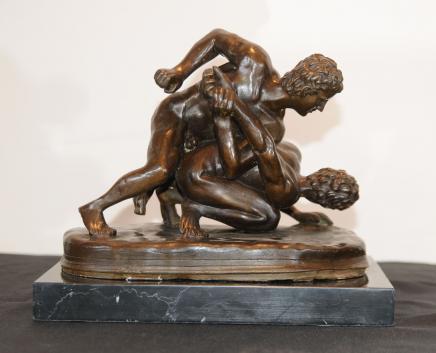 Italian Bronze Nude Male Wrestlers Signed Roman