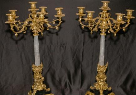 Pair 2 ft Italian Rock Crystal Ormolu Candelabras Candle