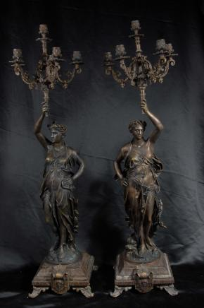 Pair 3 Ft French Bronze Gregoire Candelabras Torcheres