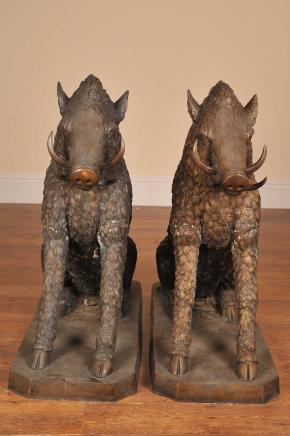 PAIR 3FT BRONZE CELTIC BOARS SIGNED A CANOVA
