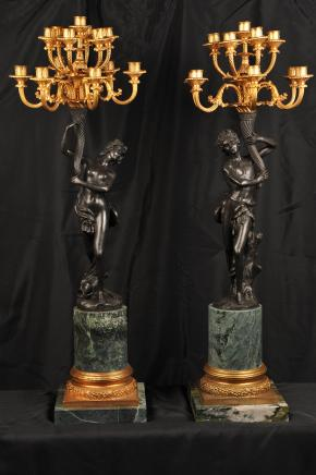 Pair 4ft Bronze Candelabras Signed Cauvet