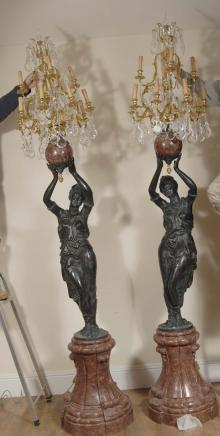 Pair 9ft Italian Female Blackamoor Candelabras Torcheres