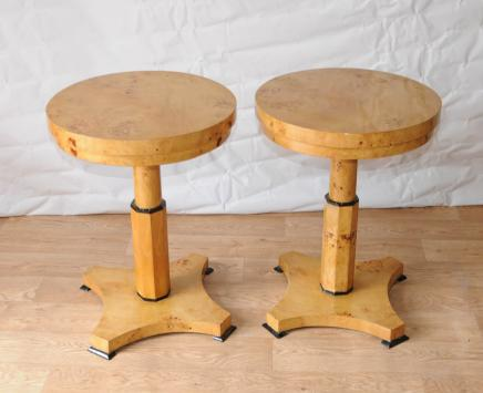 Pair Art Deco Side Tables Biedermeier Cocktail Table