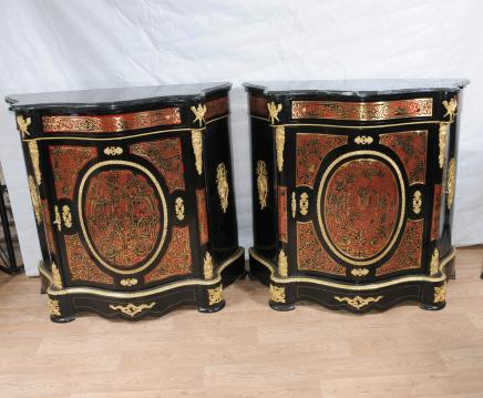 Pair Boulle Serpentine Cabinets Credenzas Bhul Inlay Louis XV Furniture