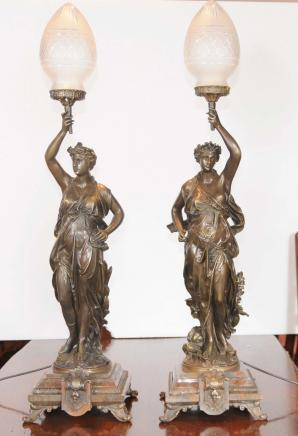 Pair Bronze Gregoire Candelabras French Lights Signed
