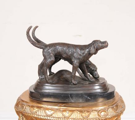 Pair Bronze Labrador Dogs Statue Dog
