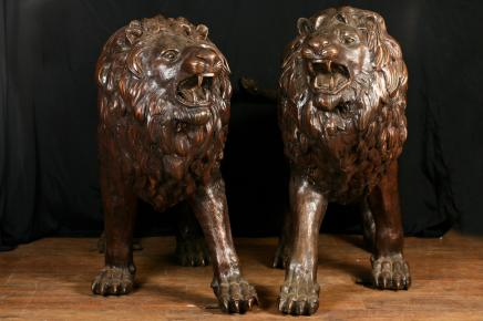 Pair Bronze Lifesize Lion Statues Gatekeeper Lions Cat