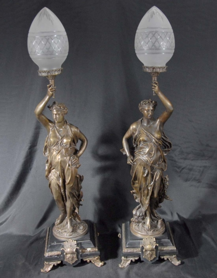 Pair Bronze Lights Signed Gregoire Statue Liberty Torcheres Lamp
