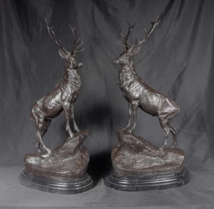 Pair Bronze Stags Signed Moigniez Stag Moose Elk