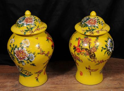 Pair Chinese Ming Porcelain Floral Ginger Jars Vases Urns Pottery