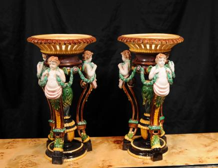 Pair English Majolica Pottery Porcelain Cherub Vase Stands Comports Urns