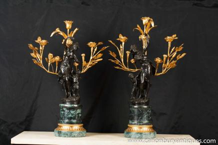 Pair French Bronze Cherub Candelabras Signed Moreau