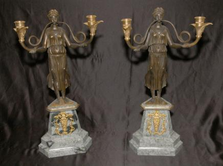 Pair French Empire Bronze Marble Candelabras Figurative