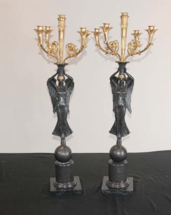 Pair French Empire Cherub Candelabras Ormolu