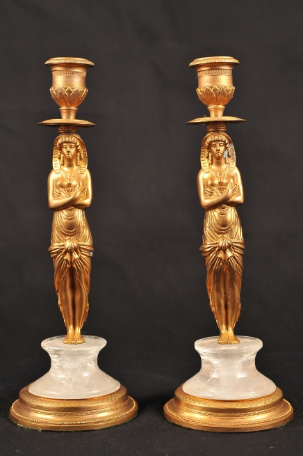 Pair French Empire Rock Crystal Pharo Candelabras
