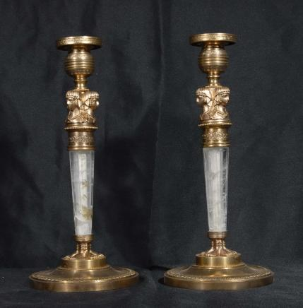 Pair French Empire Rock Crystal Pharo Candlesticks Candle