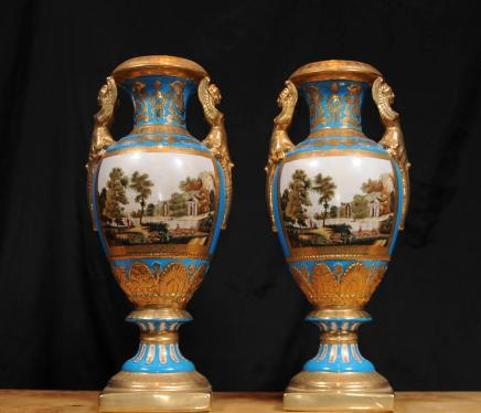 Pair French Sevres Vases Urns Floral Hand Painted Porcelain Ceramics
