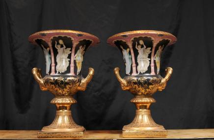 Pair German Dresden Porcelain Campana Urns Vases Toga Roman