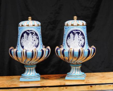 Pair German Pate Sur Pate Porcelain Urns Dresden Urn
