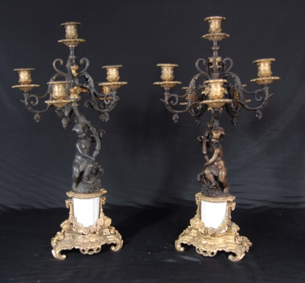 PAIR ITALIAN BRONZE CHERUB CANDELABRAS CANDLE STICKS PUTTI