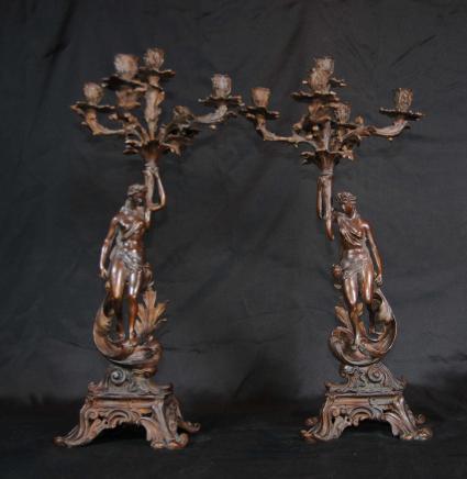 Pair Italian Rococo Bronze Figurine Candelabras