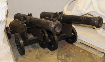 Pair Large French Bronze Cannons Canon Military Antique Military