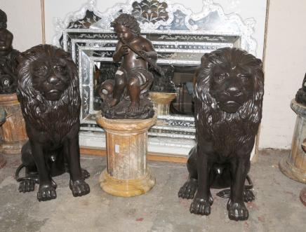Pair XL Bronze Lion Gatekeepers Lions Cats