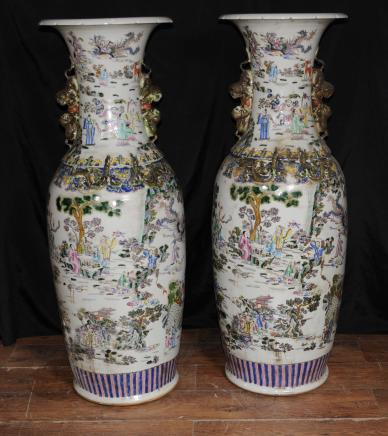 Pair XL Chinese Qing Porcelain Pottery Urns Architectural Vases