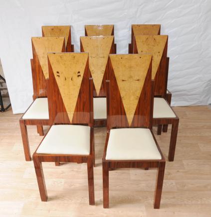 8 Art Déco à manger Chaises Inlay Diners Meubles Vintage 1920