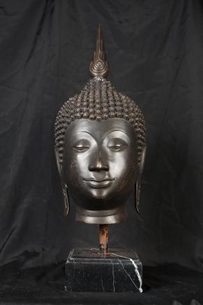 Bronze Buddha Bust Casting Head Buddhist Statue Art Buddhism