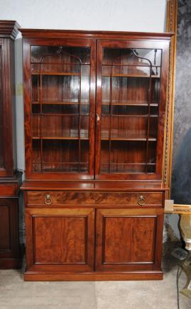 Caoba Regency Vidrio Biblioteca afrontado Librerías Vitrinas