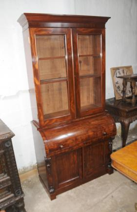 Caoba victoriana Biblioteca Cilindro Oficina del Gabinete Desk
