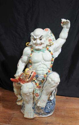 Chinese Kangxi Porcealin Angry Man Figurine Dragon Statue Oriental Ceramic Pottery