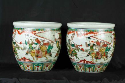 Coppia cinese Qianlong Fioriere Vasi in porcellana Bocce giardiniere