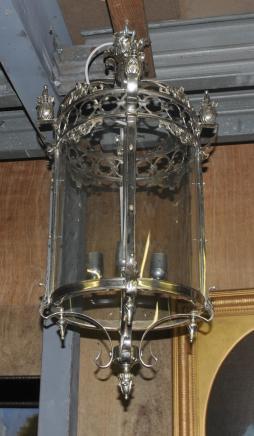 Français Brass Lantern Argent Lampe Lustre
