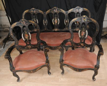 Francese anitque Black Lacquer Sedia salottino Chinoiserie Set Inlay