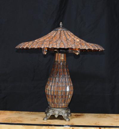 Francese Art Nouveau Tiffany lampada da tavolo in vetro Luci Ombra