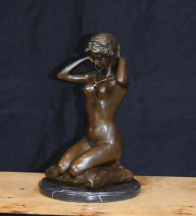 Francese bronzo Nudo Femminile Statua Statuetta Nudo d'arte Lady Erotic