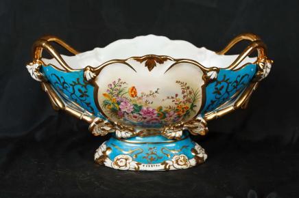 Francese in porcellana di Sevres a mano Vaso floreale dipinta Dish