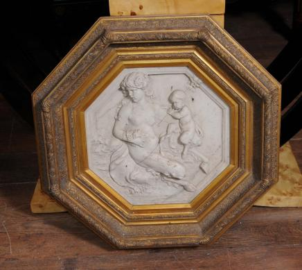 French Alabaster Plaque Angel Cherub Relief Gilt Frame
