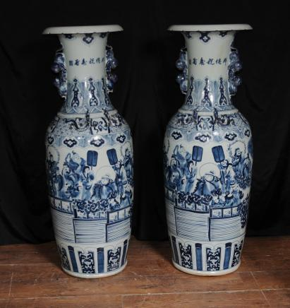 Gran par chino Nanking Urnas Floreros Porcelana China cerámica