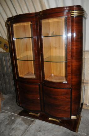 Grande Libreria Art Deco display Doppio Cabinet Fronted