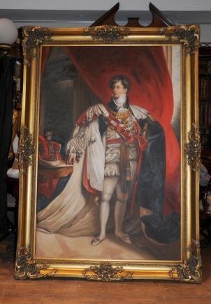 Grande peinture à l'huile roi Guillaume IV Français Banque Monarch Art