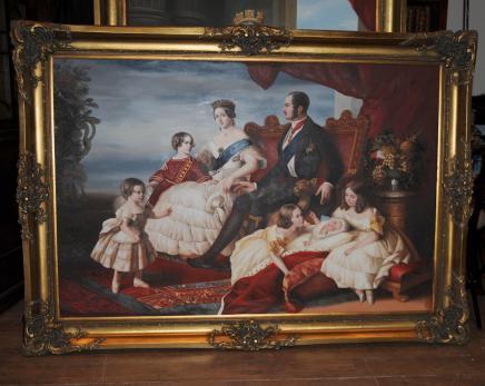 Große Ölgemälde Queen Victoria Prince Albert Monarchie viktorianischen Winterhalter