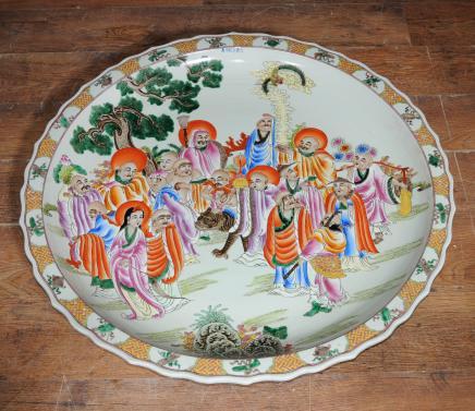 Große Chinesische Keramik Qing Platte Plaque Dish Porzellan China