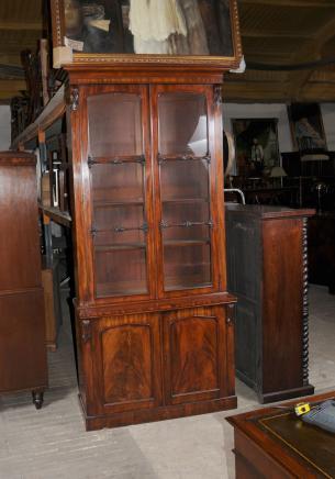 Guglielmo IV mogano satinato Cabinet Libreria Librerie Mobili